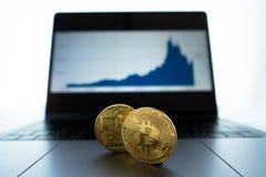 Φυσικό Bitcoin μπροστά από το lap-top που παρουσιάζει διάγραμμα του πρόσφατου perf στοκ εικόνες