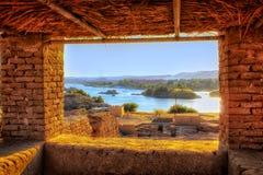 Φυσικό panaroma του Νείλου που λαμβάνεται από ένα παράθυρο Στοκ Εικόνες