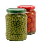 Φυσικό pease δοχείο γυαλιού ντοματών φυτικό κονσερβοποιημένο Στοκ εικόνες με δικαίωμα ελεύθερης χρήσης