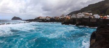 Φυσικό seascape πανόραμα Garachico Tenerife, Κανάριο νησί Στοκ Εικόνα