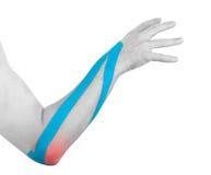 Φυσιοθεραπεία για τον πόνο, τους πόνους και την ένταση αγκώνων Στοκ φωτογραφία με δικαίωμα ελεύθερης χρήσης