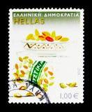 Φυστίκια από Aigina, παραδοσιακά ελληνικά προϊόντα serie, circa Στοκ Εικόνες