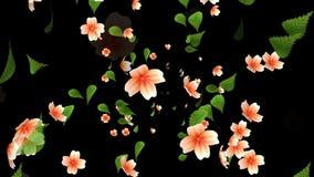 Φυσώντας λουλούδι και φύλλα ελεύθερη απεικόνιση δικαιώματος