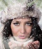 φυσώντας χειμερινή γυναί&kapp το κορίτσι Χριστουγέννων ομορφιάς αποτελεί στοκ φωτογραφία με δικαίωμα ελεύθερης χρήσης