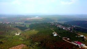 Φυτείες καφέ στους πράσινους λόφους ενάντια στον ουρανό φιλμ μικρού μήκους