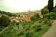 Φυτείες με τριανταφυλλιές στην πόλη της Φλωρεντίας, Ιταλία Στοκ Φωτογραφίες