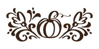 Φυτικά συρμένα χέρι floral στοιχεία σχεδίου φθινοπώρου κολοκύθας που απομονώνονται στο άσπρο υπόβαθρο για το αναδρομικό σχέδιο δι Στοκ εικόνα με δικαίωμα ελεύθερης χρήσης