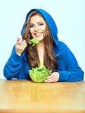 Φυτική έννοια διατροφής κατανάλωση της γυναίκας & Στοκ εικόνα με δικαίωμα ελεύθερης χρήσης