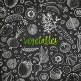 Φυτική διανυσματική σύνθεση με το αγγούρι, ντομάτα, μελιτζάνα, πατάτα, καρότο, μπρόκολο Υγιές πρότυπο σχεδίου τροφίμων Στοκ Φωτογραφία