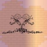 Φυτική καρδιά σε έναν τοίχο τούβλων διανυσματική απεικόνιση