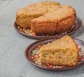 Φυτική πίτα του αλευριού και του τυριού βρωμών Στοκ Φωτογραφία