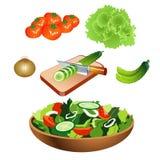 Φυτική σαλάτα με το επίπεδο σχέδιο Στοκ φωτογραφία με δικαίωμα ελεύθερης χρήσης
