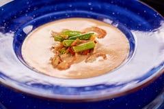 Φυτική σούπα κρέμας με τις ουρές αστακών Στοκ Εικόνες
