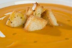 Φυτική σούπα με την κρέμα και croutons Στοκ Εικόνες