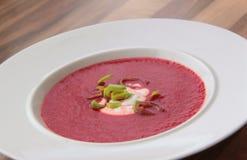 Φυτική σούπα με το κόκκινο τεύτλο, τα καρότα και τις ντομάτες στοκ εικόνες
