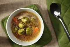 Φυτική σούπα με το νεαρό βλαστό των Βρυξελλών Στοκ Φωτογραφίες