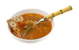 Φυτική σούπα ρυζιού κοτόπουλου Zesty με το κουτάλι στοκ εικόνες