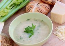 Φυτική σούπα σέλινου με το τυρί παρμεζάνας και ολόκληρο το baguette σιταριού στοκ εικόνες