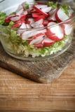 Φυτική vegan σαλάτα του άγριου σκόρδου, ραδίκι, κρεμμύδια άνοιξη, αμάξι στοκ εικόνες