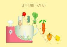 Φυτικός κόπτης με τα διαφορετικά λαχανικά απεικόνιση αποθεμάτων