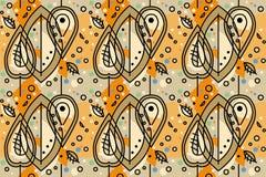 Φυτικό άνευ ραφής σχέδιο του ύφους της Ινδίας - φύλλα φθινοπώρου Στοκ φωτογραφία με δικαίωμα ελεύθερης χρήσης
