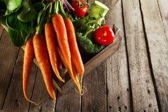 Φυτικό ζωηρόχρωμο υπόβαθρο τροφίμων Νόστιμα φρέσκα λαχανικά στο ξύλινο κιβώτιο στον ξύλινο πίνακα Υπόβαθρο κουζινών Στοκ φωτογραφία με δικαίωμα ελεύθερης χρήσης