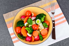 Φυτικό πιάτο: Μπρόκολο και καρότα Διατροφή ικανότητας διατροφής στοκ φωτογραφίες