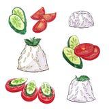 Φυτικό τεμαχίζοντας ρύζι αγγουριών ντοματών - σκίτσο Watercolor Στοκ Εικόνες
