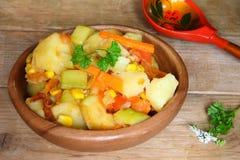 Φυτικό Stew με το γλυκό καλαμπόκι Στοκ Εικόνες