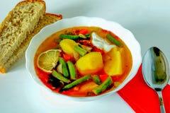 Φυτικό stew σε ένα πιάτο που στέκεται στον πίνακα δίπλα σε δύο κομμάτια του ψωμιού στοκ εικόνα με δικαίωμα ελεύθερης χρήσης