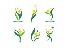 Φυτό, άνθρωποι, wellness, εορτασμός, φυσικός, αστέρι, λογότυπο, υγεία, ήλιος, φύλλο, βοτανική, οικολογία, καθορισμένο διάνυσμα σχ διανυσματική απεικόνιση