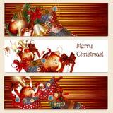 Φυλλάδια Χριστουγέννων με το σύνολο καλτσών των δώρων για το σχέδιο Στοκ Εικόνες