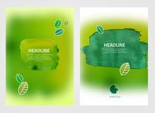 Φυλλάδια eco Watercolour Στοκ εικόνες με δικαίωμα ελεύθερης χρήσης