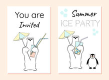 Φυλλάδιο πρόσκλησης με τη πολική αρκούδα και penguin Κόμμα θερινού πάγου Στοκ Εικόνες