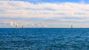 Φυλή και seascape γιοτ Στοκ εικόνες με δικαίωμα ελεύθερης χρήσης