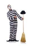 Φυλακισμένος με τη σκούπα Στοκ φωτογραφία με δικαίωμα ελεύθερης χρήσης