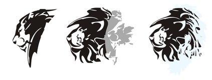 Φυλετικά επικεφαλής σύμβολα λιονταριών - τρεις επιλογές Στοκ Εικόνες