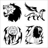 Φυλετικά λιοντάρια Σύνολο γραπτών διανυσματικών απεικονίσεων Στοκ Φωτογραφίες