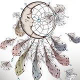 Φυλετική απεικόνιση μόδας Boho με το dreamcatcher Στοκ Εικόνες