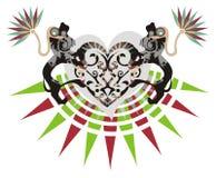 Φυλετική καρδιά με τα διακοσμητικά λιοντάρια Στοκ Εικόνες