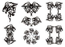Φυλετικό κυματιστό σύνολο δράκων μαύρο λευκό Στοκ Εικόνα