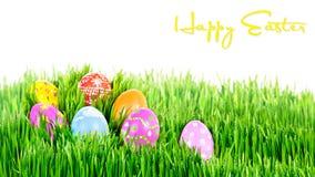 Φωλιά χρωματισμένων των χέρι αυγών Πάσχας Στοκ Εικόνες