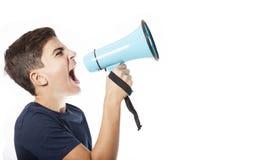 Φωνάζοντας έφηβος με megaphone Στοκ φωτογραφίες με δικαίωμα ελεύθερης χρήσης