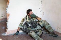Φωνάζοντας αμερικανικός στρατιώτης Στοκ Φωτογραφίες