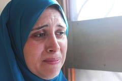 Φωνάζοντας αραβική μουσουλμανική γυναίκα Στοκ Εικόνες