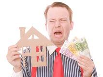 Φωνάζοντας επιχείρηση houseowner με τα χρήματα Στοκ εικόνα με δικαίωμα ελεύθερης χρήσης