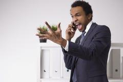 Φωνάζοντας επιχειρηματίας αφροαμερικάνων Στοκ Εικόνα