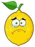 Φωνάζοντας κίτρινος χαρακτήρας προσώπου Emoji κινούμενων σχεδίων φρούτων λεμονιών με τα δάκρυα Στοκ εικόνες με δικαίωμα ελεύθερης χρήσης