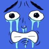 Φωνάζοντας λυπημένο πρόσωπο που απομονώνεται στο μπλε χρώμα λουλακιού Στοκ Εικόνα