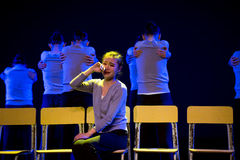 Φωνάζοντας χορός κορίτσι-πανεπιστημιουπόλεων Στοκ Εικόνες